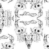 Bull Skull Black  white print