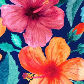 Colorful Watercolor Hibiscus on Indigo - large print