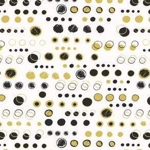 Black Yellow Polka Dots Shapes Vector Pattern