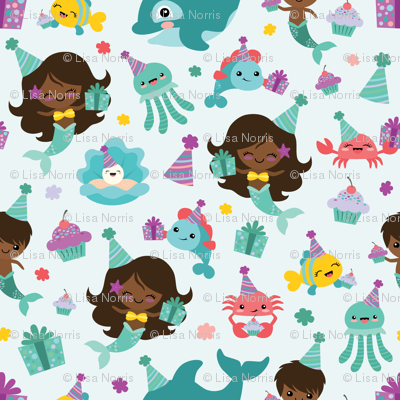 Birthday Multi-Ethnic Mermaids Sea Friends