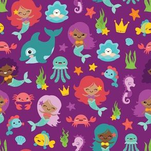 Multi-Ethnic Mermaids and Friends on Purple Background