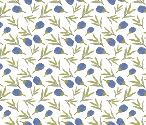 blue flower and leaves fabric by owls_at_work_studio on Spoonflower - custom fabric