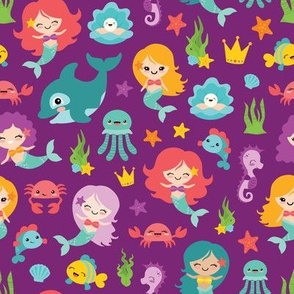 Mermaids and Friends on Purple Background
