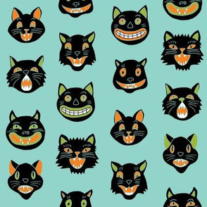 halloween cat mask // cats, cat, spooky, scary, halloween fabric, black cat fabric - colors