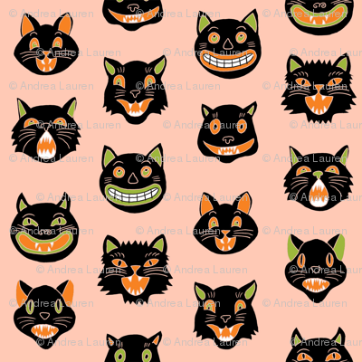 halloween cat mask // cats, cat, spooky, scary, halloween fabric, black cat fabric - peach