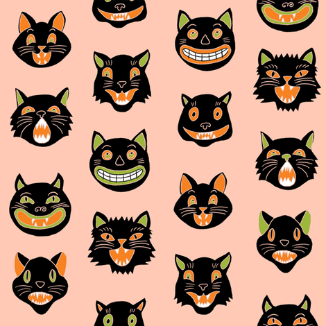halloween cat mask // cats, cat, spooky, scary, halloween fabric, black cat fabric - peach fabric by andrea_lauren on Spoonflower - custom fabric