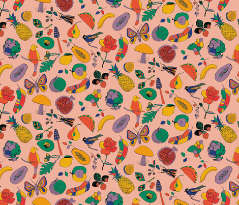 Fruits, mushrooms, insects and birds fabric by juliaschumacher on Spoonflower - custom fabric