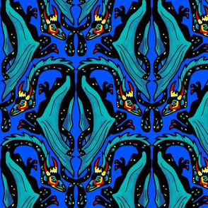 Dragon Damask on Royal Blue