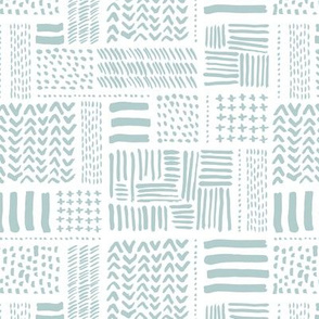 Modern minimal aztec patchwork geometric hand drawn ink shapes soft baby mint
