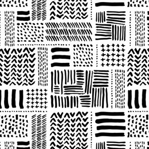Modern minimal aztec patchwork geometric hand drawn ink shapes monochrome black and white