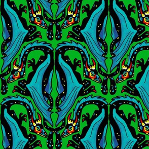 Dragon Damask on Green