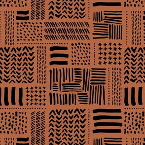 Modern minimal mudcloth aztec patchwork geometric hand drawn ink shapes copper black fall autumn