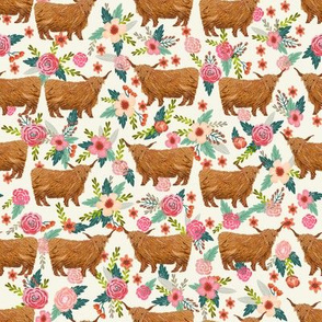 highland cattle floral fabric - cow, cows, farm, farmland, highland, cattle, florals - cream