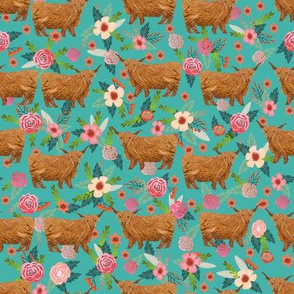 highland cattle floral fabric - cow, cows, farm, farmland, highland, cattle, florals - turquoise