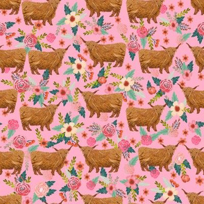 highland cattle floral fabric - cow, cows, farm, farmland, highland, cattle, florals- pink