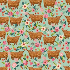 highland cattle floral fabric - cow, cows, farm, farmland, highland, cattle, florals