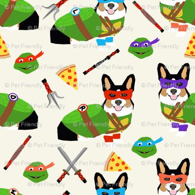tri corgi ninja turtle - dog, dogs, cartoon, costume, halloween fabric - cream