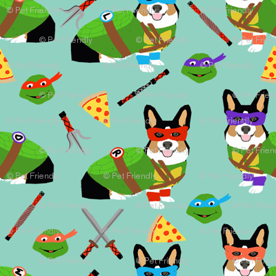 tri corgi ninja turtle - dog, dogs, cartoon, costume, halloween fabric