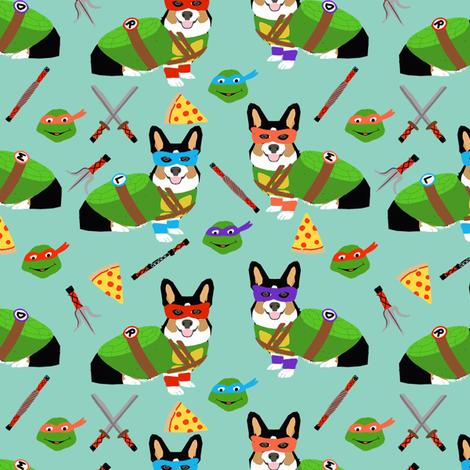 tri corgi ninja turtle - dog, dogs, cartoon, costume, halloween fabric  fabric by petfriendly on Spoonflower - custom fabric