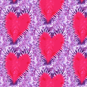 60's groovy tie-dye hearts  (large scale)