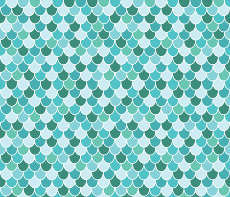Teal Scalloped Scales fabric by lisanorrisartworks on Spoonflower - custom fabric