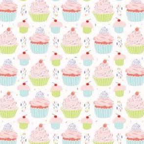 Pastel Cupcakes Food Vector Pattern Seamless