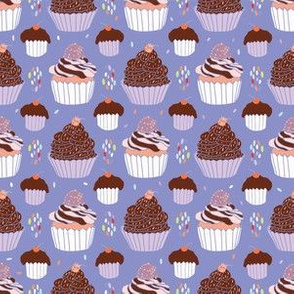 Baked Cupcakes Food Vector Pattern Seamless