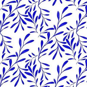A Drift of Blue Leaves on White