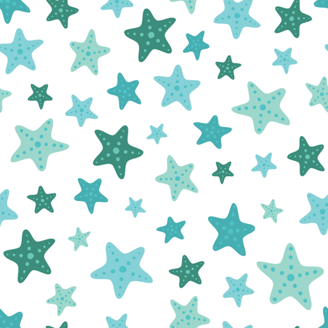 Teal Starfish fabric by lisanorrisartworks on Spoonflower - custom fabric