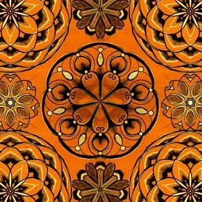 temari mandalas in red orange