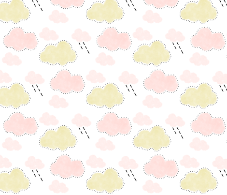 doodle clouds fabric by the_kitten_is_in on Spoonflower - custom fabric
