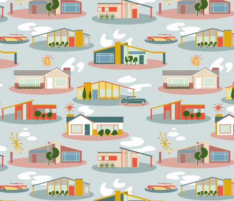 1950's Suburbia (large) fabric by new_branch_studio on Spoonflower - custom fabric