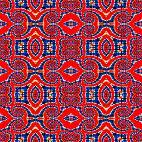 Red & Blue Damask