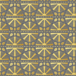 Gold & Grey Art Deco Fan