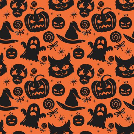 Black Cats And Midnight Halloween Magic fabric by little_bunny_sunshine on Spoonflower - custom fabric