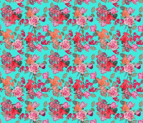 Vintage Roses // Turquoise  fabric by theartwerks on Spoonflower - custom fabric