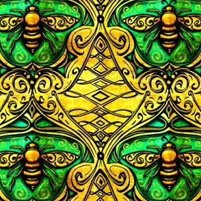 Art Nouveau enameled bee damask