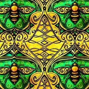 Art Nouveau enameled bee damask