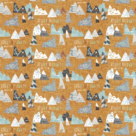 Adventure Awaits (mustard) MICRO fabric by nouveau_bohemian on Spoonflower - custom fabric