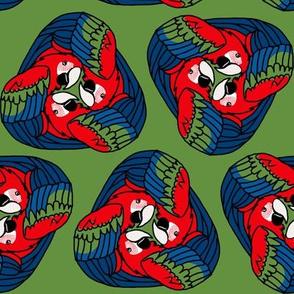 Tripartite Parrots on Green