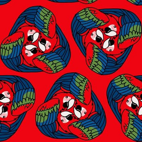 Tripartite Parrots on Red