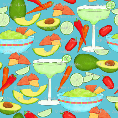 Margaritas and Guacamole Turquoise Med