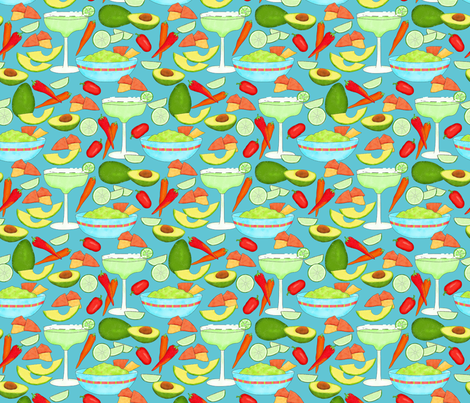 Margaritas and Guacamole Turquoise Med fabric by phyllisdobbs on Spoonflower - custom fabric