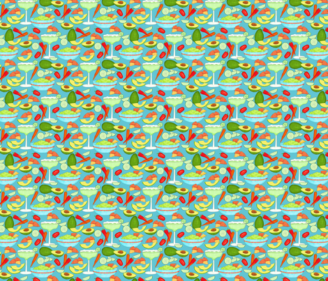 Margaritas and Guacamole Turquoise Small fabric by phyllisdobbs on Spoonflower - custom fabric