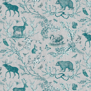 Spring Woodland Toile (teal, grey background)