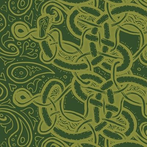 Knotwork Paisley Serpent GREEN