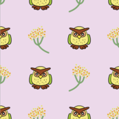 yellow owl with flowers