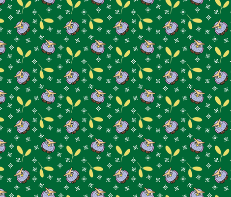 blue owl with yellow fruit fabric by owls_at_work_studio on Spoonflower - custom fabric