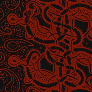 Knotwork Paisley Serpent BLACK RED