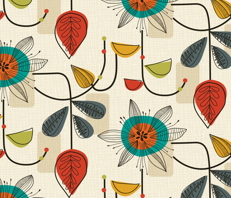 1950's Mid Century Modern fabric by patternanddesign on Spoonflower - custom fabric